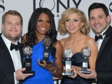 Tony winners, from left to right: James Corden, Audra McDonald, Nina Arianda and Steve Kazee. Photo: Mike Coppola/Getty Images.